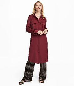 Satiininen paitamekko | Viininpunainen | Naiset | H&M FI