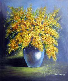Mimosa by Vesna Martinjak Simple Canvas Paintings, Original Paintings, Canvas Art, Flower Paintings, Original Art, Yellow Wall Art, Yellow Painting, Mimosas, Art Floral