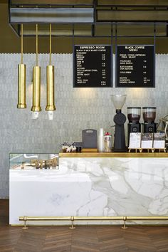 Neutral palette we created for Espresso Room, Canberra Centre. Featuring: brass cup dispensers by Artisan Smith; polygon Italian Carrara tiles and reconstituted stone by Smartstone. Coffee Menu, Cafe Interior Design, Black Milk, Neutral Palette, Carrara, Black Coffee, Hospitality, Espresso, Centre