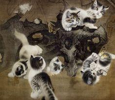Кошки в живописи и скульптуре. Рисунки кошек. Кошки в искусстве.