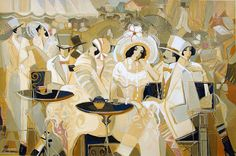 At The Races  Painting by Israeli Artist Isaac Maimon