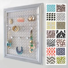 Barnwood frame with fabric backed chicken wire jewelry display
