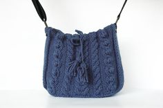 Blue messenger Bag with adjustable long strap knited by Sudrishta, $80.00