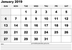11 Best Printable Calendar January 2019 Images