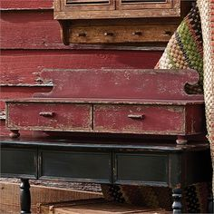 """Aged Red Counter Shelf ~ this decorative primitive / country aged shelf measures 12""""H x 36""""W x 9.5""""D."""