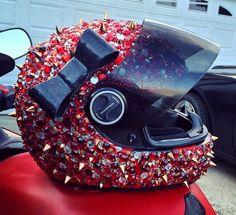 Red crystal and spike Helmet   Photo by bekkahbella