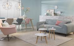We rounded up some of our favorite Scandinavian interior design ideas along with handy décor tips. Pastel Living Room, Living Room Modern, Home Living Room, Home Decoracion, Piece A Vivre, Mid Century Modern Furniture, Home Decor Inspiration, Home Interior Design, Room Decor