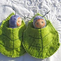 little Caterpillar baby in a leaf bed by zuzuspetal on Etsy