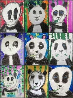 My Animals Around the World groups kicked off their first day of class creating mixed media pandas from China. Pandas were create. Panda For Kids, Art For Kids, Primary School Art, Elementary Art, Panda Drawing, Drawing Animals, Visual Art Lessons, Kindergarten Art Lessons, Group Art Projects