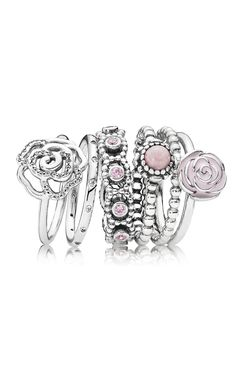 Go for a romantic and feminine style by mixing soft pink hues with timeless sterling silver rings. #PANDORA #PANDORAring