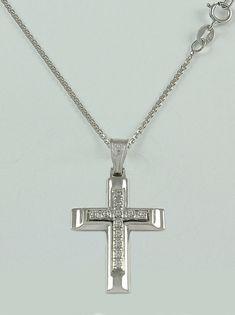 Σταυρός βάπτισης λευκόχρυσος με αλυσίδα, 14 καράτια, κορίτσι, Κωδικός WS116