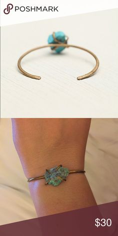 Free People Claw crystal skinny cuff Brass/turquoise bracelet cuff. Small, thin, band highlights the turquoise stone Free People Jewelry Bracelets