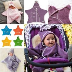 Keep baby nice and warm with this simple and cuddly one-piece baby star fleece wrap!  (y)  Details--> http://wonderfuldiy.com/wonderful-star-fleece-baby-wrap-design/