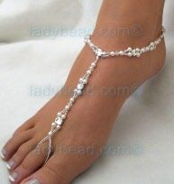 #barefoot #sandal #beach #wedding Pearl and Rhinestone Anklets for your #destination wedding
