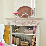 Hometalk :: I took an old nasty bookcase, a old mirror, and a footboard and pieced…