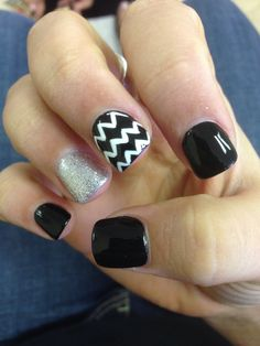 Black and white with chevron nails