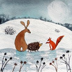 Original Watercolour Painting: HARE, HEDGEHOG & RED SQUIRREL IN THE MOONLIGHT | eBay
