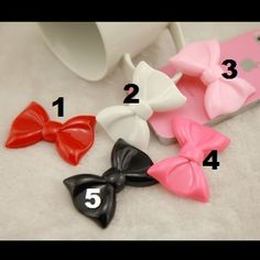 5pcs Large resin bows bling diy phone deco 5 colors | chriszcoolstuff - Craft Supplies on ArtFire Resins, Craft Supplies, Bling, Bows, Deco, Phone, Colors, Crafts, Arches