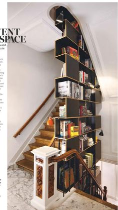 Staircase cabinet organizing and saving space. modern with new. #ClippedOnIssuu from Living etc Febraury 2015