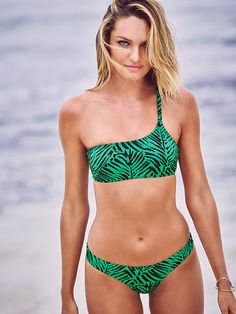 The bandeau bikini steps it up for festival season with an asymmetrical neckline and a single strap. And that palm tree print? A little slice of paradise. | Victoria's Secret Asymmetrical Bandeau