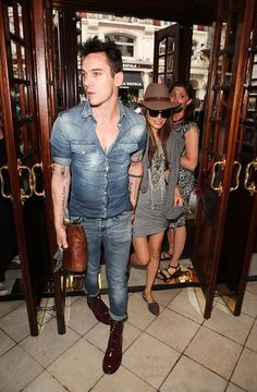LONDON, ENGLAND - AUGUST 03:  Jonathan Rhys Meyers (L) and Mara Lane arrive for the press night performance of