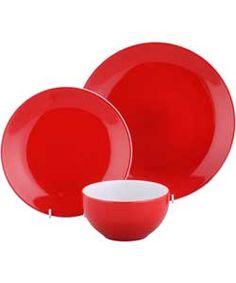 ColourMatch Two-Tone 12 Piece Dinner Set - Poppy Red.