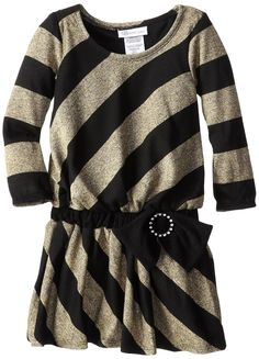 Bonnie Jean Little Girls' Gold and Black Stripe Lurex Dress, Gold, 4