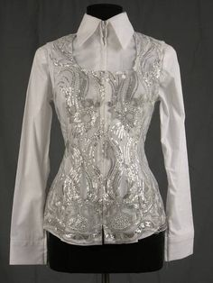 Bright White and Silver Lace Vest  For the summer heat!!