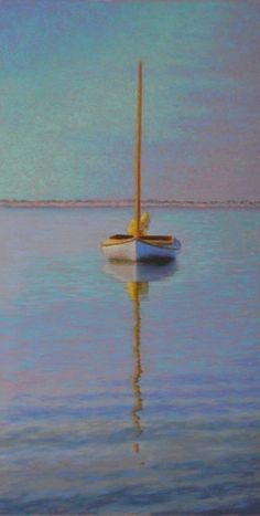 To Stillness Sailboat Pastel Painting by Poucher, painting by artist Nancy Poucher