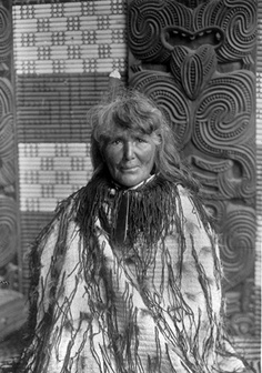 Guide Sophia in traditional korowai (cloak). Photo from about 1985. Borrow this to find out more about Sophia the Guide -- Maori biographies, sketches of old New Zealand