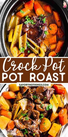 Try this Crockpot Pot Roast if you want to serve tender beef, perfectly cooked vegetables and the best gravy ever! Made with red wine and herbs for so much flavor. | #beef #beefrecipes #crockpot #slowcooker #easydinnerideas #fall #fallrecipes #comfortfood #potroast Best Beef Recipes, Pot Roast Recipes, Family Recipes, Favorite Recipes, Best Slow Cooker, Slow Cooker Recipes, Delicious Dinner Recipes, Lunch Recipes, Best Pot Roast