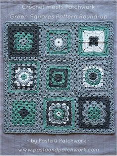 """Crochet meets Patchwork"" Afghan - Green Granny Squares Pattern Round-up"