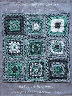 Crochet meets Patchwork Afghan | Green Granny Squares Pattern Round-up ༺✿ƬⱤღ https://www.pinterest.com/teretegui/✿༻