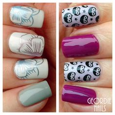 Cute Owl & Floral Stamping Nails : http://geordienails.blogspot.com/2015/02/born-pretty-stamping-plate-bp54-cute.html