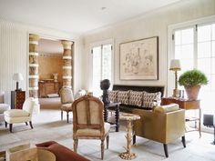 Upscale neutral space; Yellow house on the beach: Color and classic style