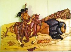 Buffalo Hunt (Intarsia) - by KoryK @ LumberJocks.com ~ woodworking community