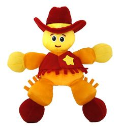 Giggle Toys Duke The Cowboy, Yellow. Features like feel the crinkle in my vest, gentle rattle in my hat, feel my soft fringe, hands and feet are sized just right for little hands to grab. Sensory experiences like socio emotional, gross motor, auditory and tactile. Machine washable. Attaches to Giddy Up's saddle. Duke The Cowboy is a plush go anywhere attachable to anything.