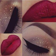 sparkling eyelids, stunning holiday makeup combo