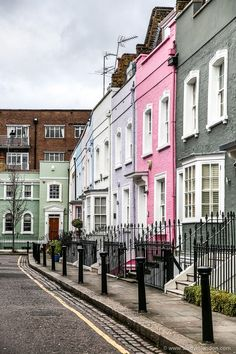 Colorful row of houses in Chelsea, London