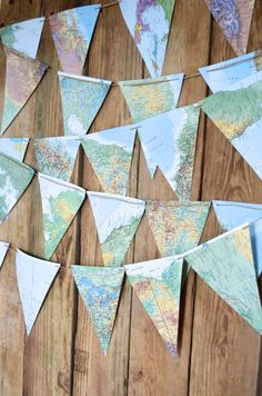 Large Vintage Map Triangle Garland – 20 or 30 feet of bunting – Diy Garland 2020 Transparent Plastic Sheet, Triangles, Map Coasters, Small Space Interior Design, Globe Pendant Light, Globe Ornament, Wall Maps, Plastic Sheets, Jute Twine