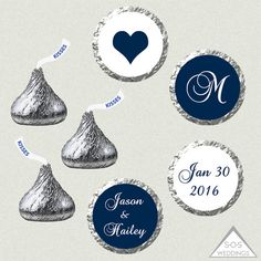 Printable Hershey Kiss Labels Wedding Kiss Stickers by SOSWeddings