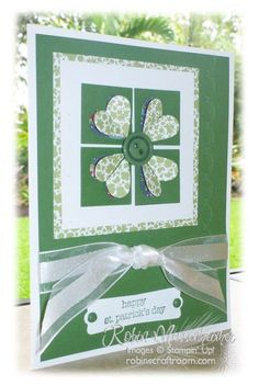 Stampin' Up! ... handmade St. Patrick's Day card from RobinsCraftRoom.com  ... monochromatic ... lugu the layering wit patterned papers ... punched heart four leaf clover in 4 square with a button center ... lovely card ...