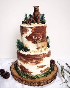 A PNW woodland-inspired birthday cake I made for my animal-loving little sister.