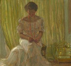 Frederick Carl Frieseke / In the Sun (Medora Clark in the Clark Apartment, Paris), detail, 1903