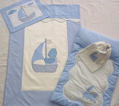 Aplikeli mavi pike takımı ve alt açma seti Kırlent ve pike Bez torbası ve alt açma minderi