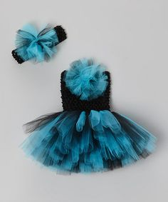 46b1cdbb69 Bride and Babies Aqua & Black Tutu Dress & Headband - Infant & Toddler