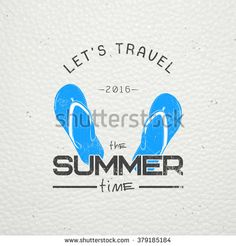 Summer time. Tourist agency. Travel around the world. Detailed elements. Old retro vintage grunge. Scratched, damaged, dirty effect. Typographic labels, stickers, logos and badges. Flat vector - stock vector