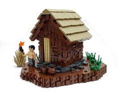 Primitive technology - tiled roof hut