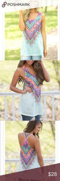 """Kaleidoscope Tank Mint Monogram Shown: Circle Font / Hot Pink Vinyl Model is wearing a small Runs true to size This material is partially sheer - we recommend wearing a camisole underneath for additional coverage. 95% Polyester, 5% Spandex Length from shoulder to hem: S - 30.5"""", M - 31"""", L - 31.5"""" Bust: S - 34"""", M - 36"""", L - 38"""" Hand wash cold / Hang to dry Unlined Colors may vary from different viewing devices. Tops Tank Tops"""