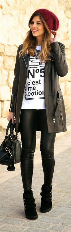Cool Look Leather Jacket + Faux Leather Legging